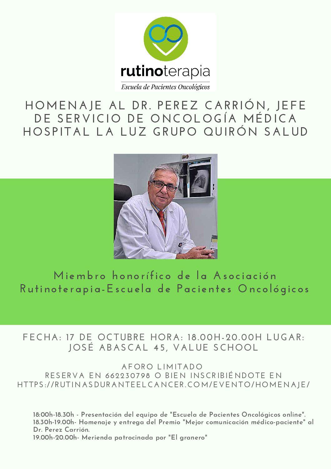 Homenaje al Dr. Perez Carrión, Jefe de Servicio de ...